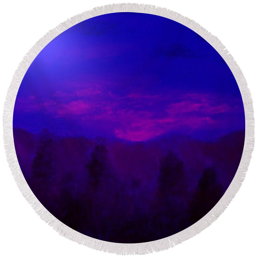 Mountains Round Beach Towel featuring the mixed media Blue Sunset by Melvin Moon