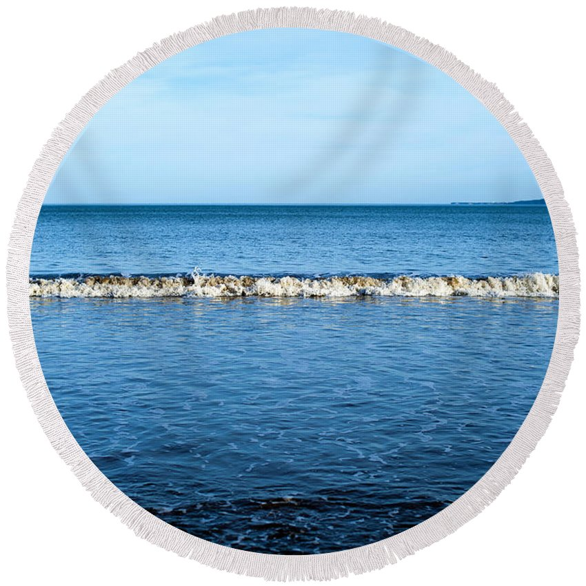 Bay Round Beach Towel featuring the photograph Blue by Svetlana Sewell