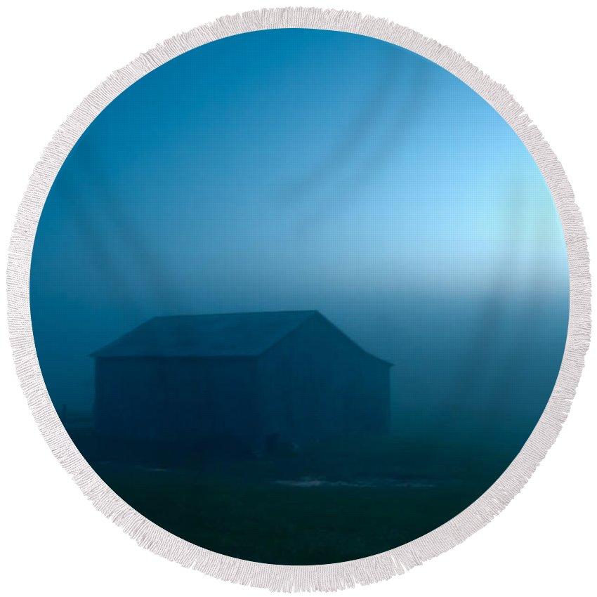 Blue Round Beach Towel featuring the photograph Blue Tobacco Barn Fog by Randall Branham