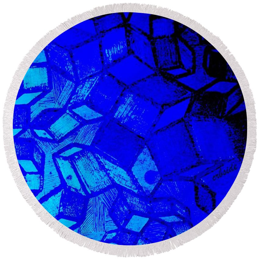 Etching Round Beach Towel featuring the photograph Blue Zinc by Chris Berry