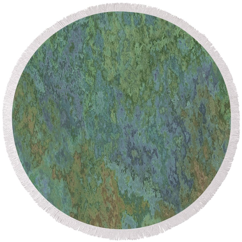 Abstract Round Beach Towel featuring the digital art Bluegreen Stone Abstract by Debbie Portwood