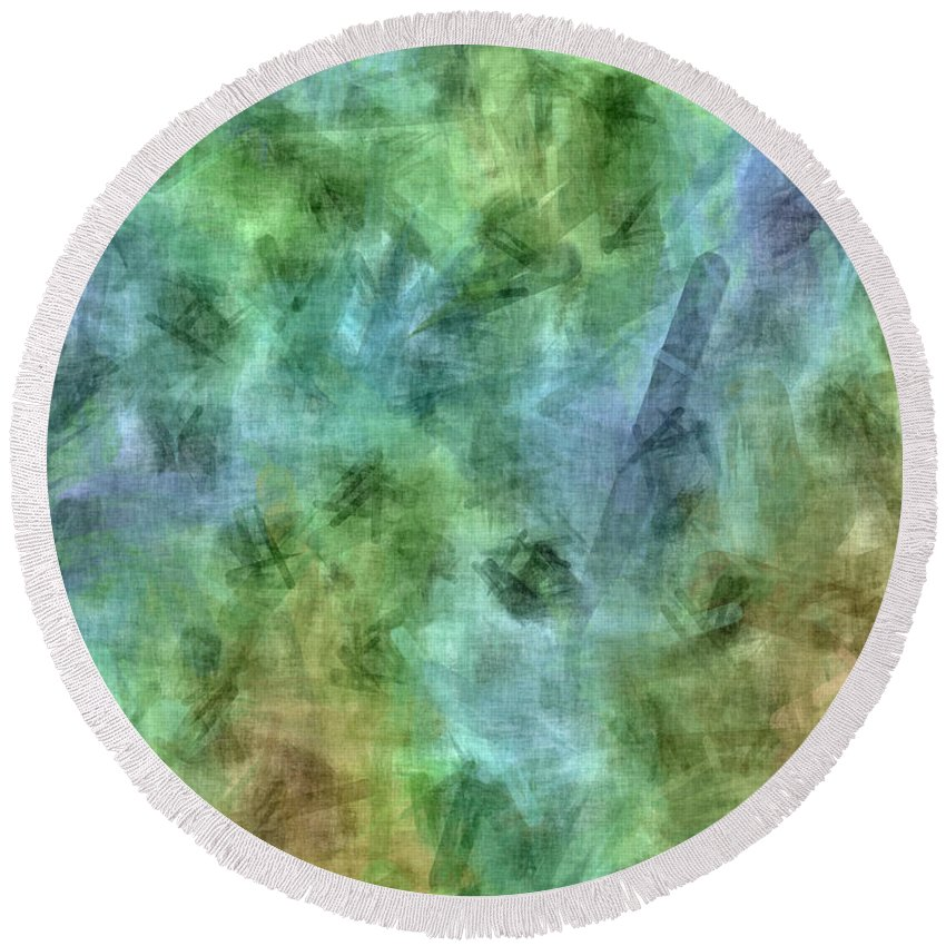 Abstract Round Beach Towel featuring the digital art Bluetone Abstract by Debbie Portwood