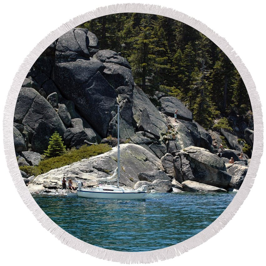 Usa Round Beach Towel featuring the photograph Boat A Rockin by LeeAnn McLaneGoetz McLaneGoetzStudioLLCcom