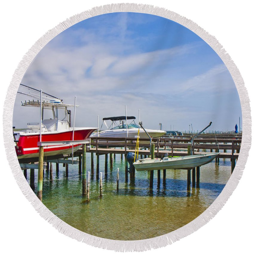 Topsail Round Beach Towel featuring the photograph Boat Caddy by Betsy Knapp