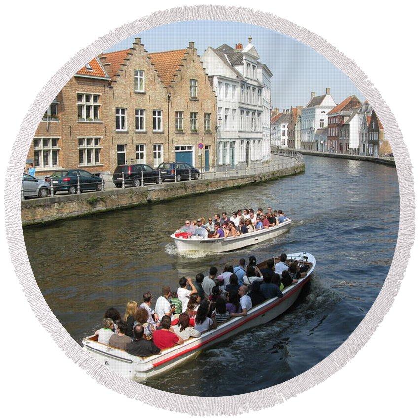 Brugge Round Beach Towel featuring the photograph Boat Tours In Brugge Belgium by Ausra Huntington nee Paulauskaite