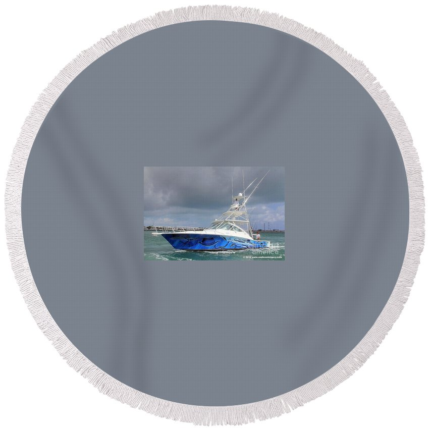 Boat Wrap Round Beach Towel featuring the digital art Boat Wrap On Cabo by Carey Chen