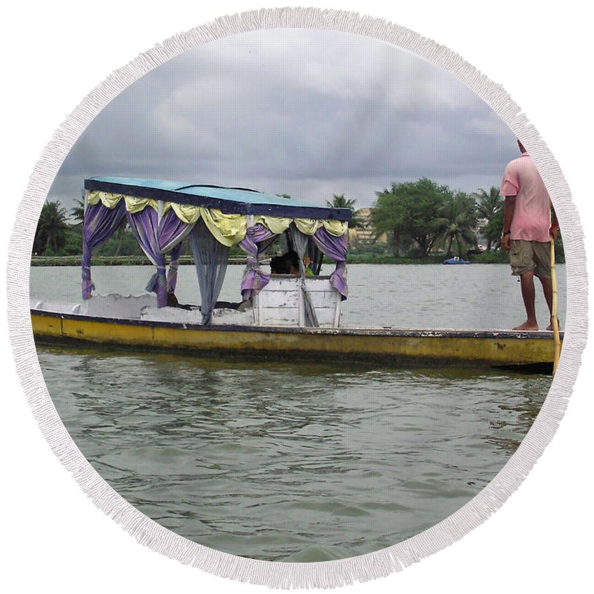 Boatman Round Beach Towel featuring the photograph Boatman Taking A Couple Out On A Shikhara by Ashish Agarwal