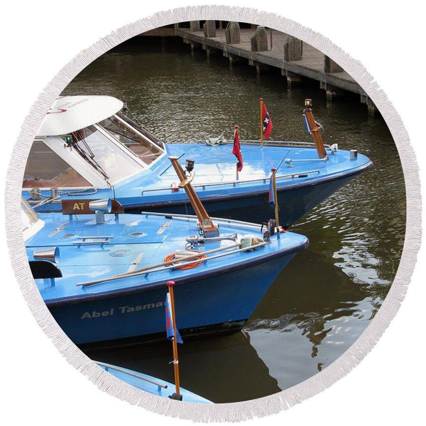 Transportation Round Beach Towel featuring the photograph Boats In Amsterdam. Holland by Ausra Huntington nee Paulauskaite