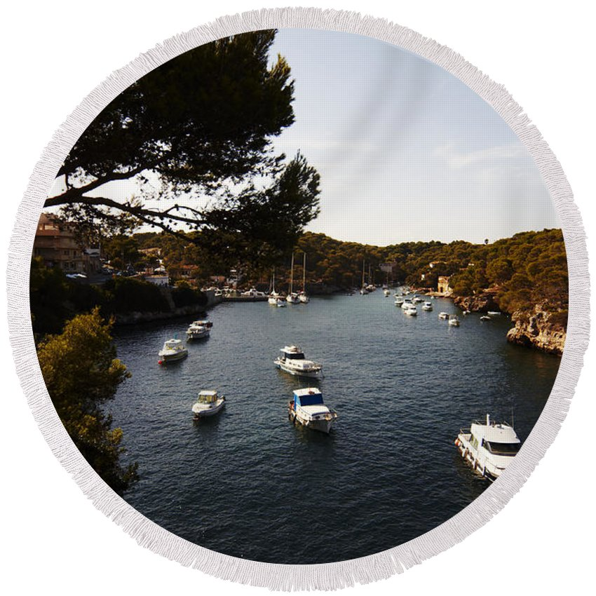 Cala Figuera Round Beach Towel featuring the photograph Boats In Cala Figuera by Agusti Pardo Rossello