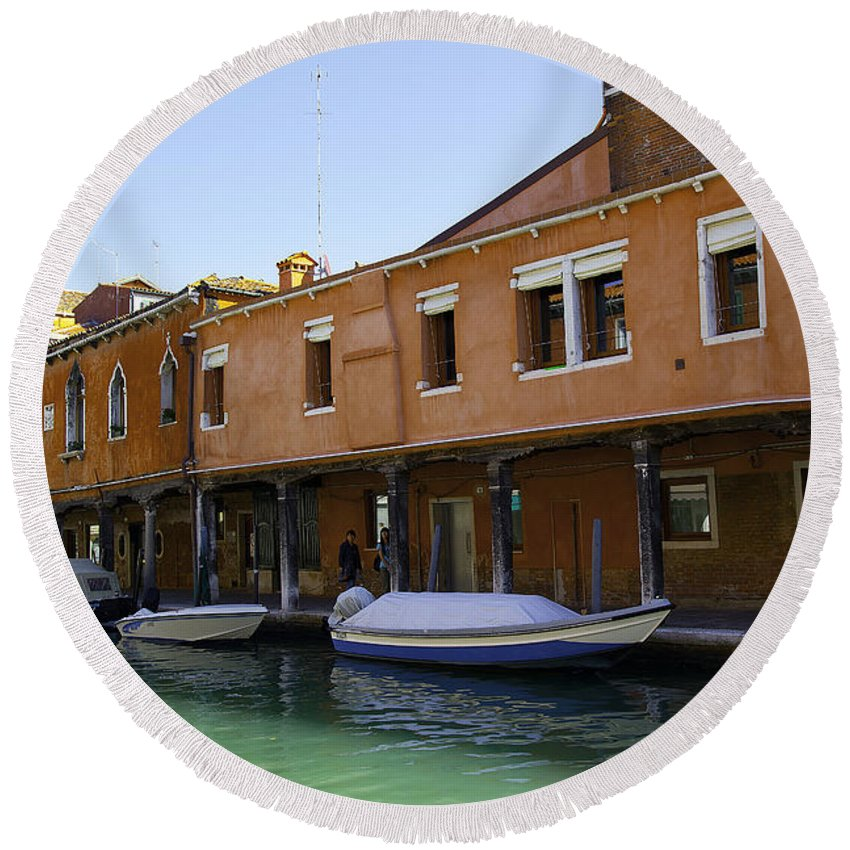 Boats Round Beach Towel featuring the photograph Boats On The Canal - Venice by Madeline Ellis