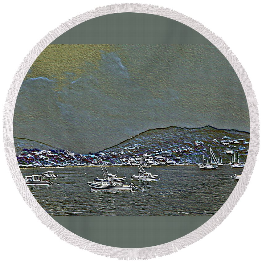 Boats Round Beach Towel featuring the photograph Boats by Pamela Cooper