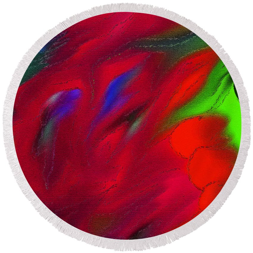 Vibrant Color Art Round Beach Towel featuring the digital art Boldly Into The Stream by Marie Jamieson