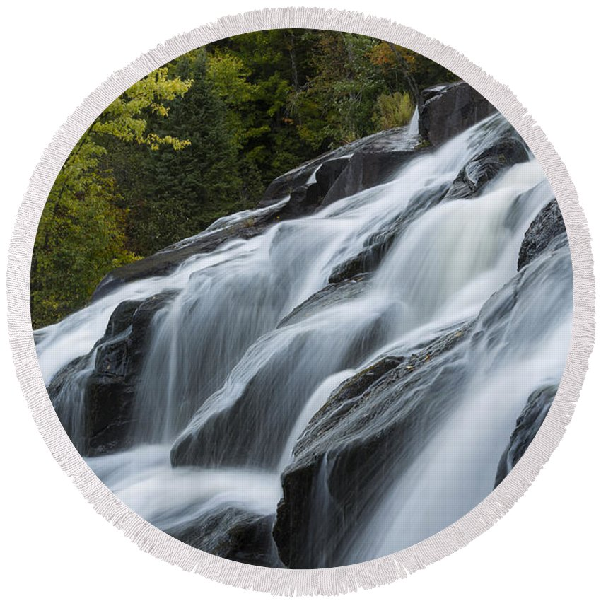 Bond Round Beach Towel featuring the photograph Bond Falls 10 by John Brueske