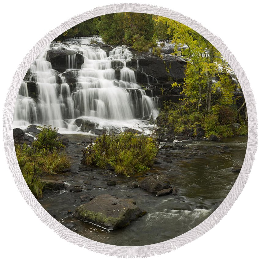 Bond Round Beach Towel featuring the photograph Bond Falls 3 by John Brueske