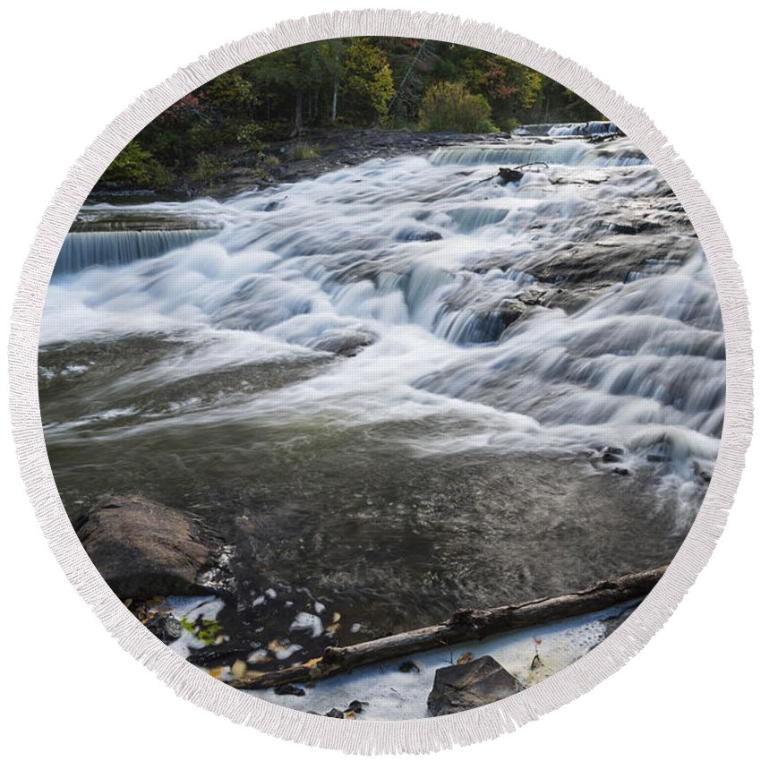 Bond Round Beach Towel featuring the photograph Bond Falls Upper 1 by John Brueske