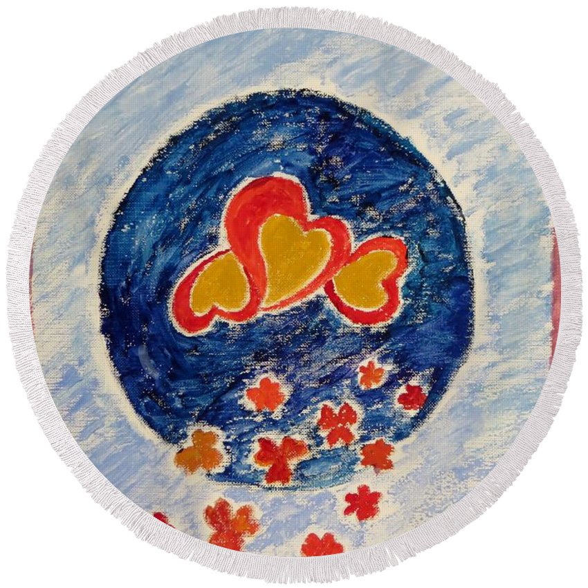Gold Magnanimous Hearts Reflecting Love Round Beach Towel featuring the painting Bonding by Sonali Gangane