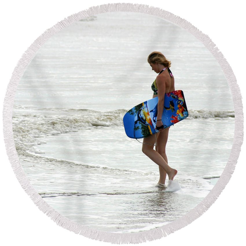 Gary Gingrich Round Beach Towel featuring the photograph Boogie Board 0669b by Gary Gingrich Galleries