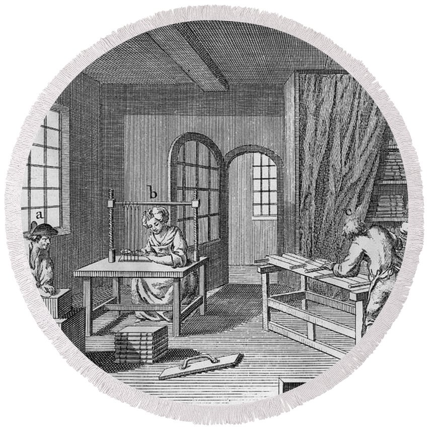 1763 Round Beach Towel featuring the photograph Bookbinder, 1763 by Granger