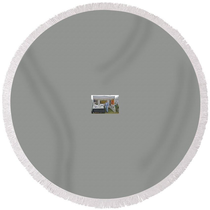 Round Beach Towel featuring the photograph Booth At Saint Clair Shores by Michael Peychich