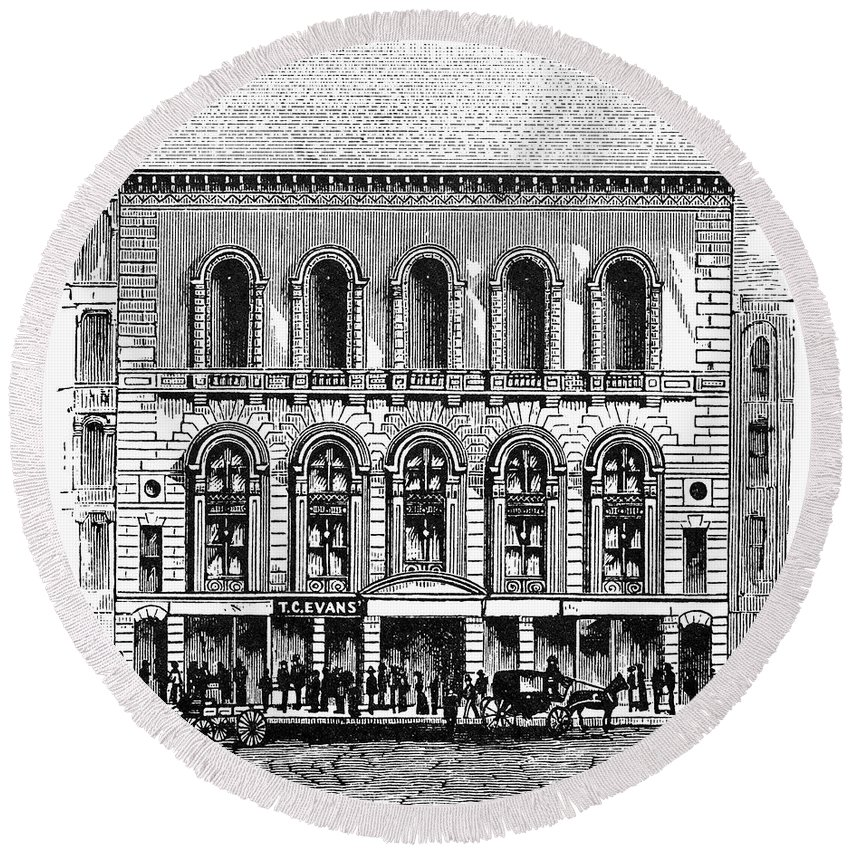1889 Round Beach Towel featuring the photograph Boston: Tremont Temple by Granger
