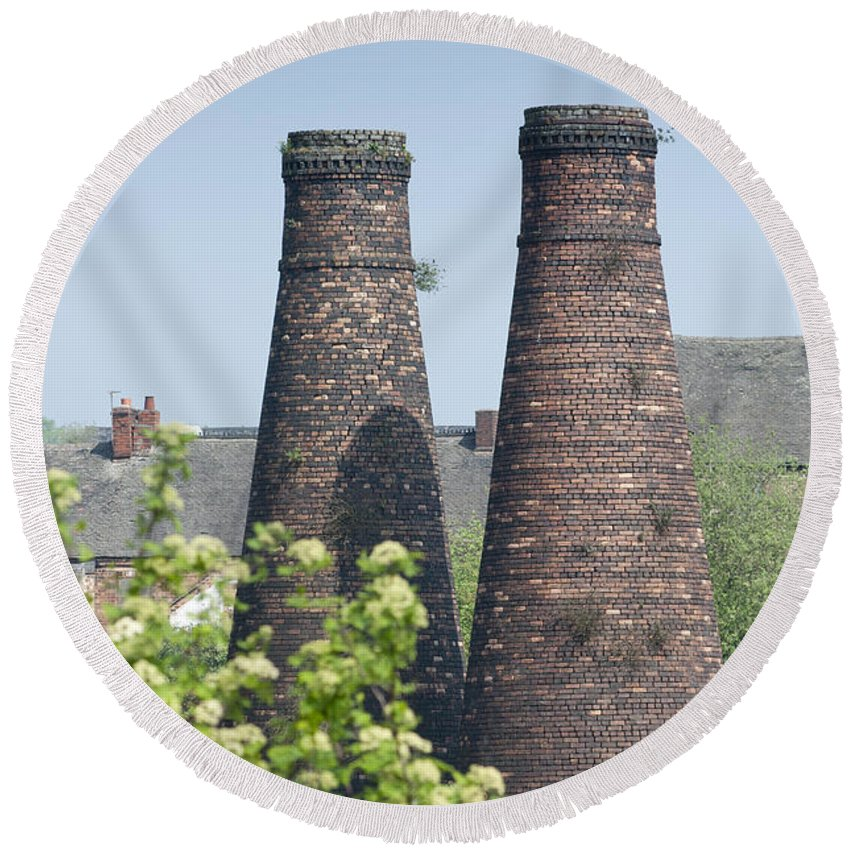 2011 Round Beach Towel featuring the photograph Bottle Kilns by Andrew Michael