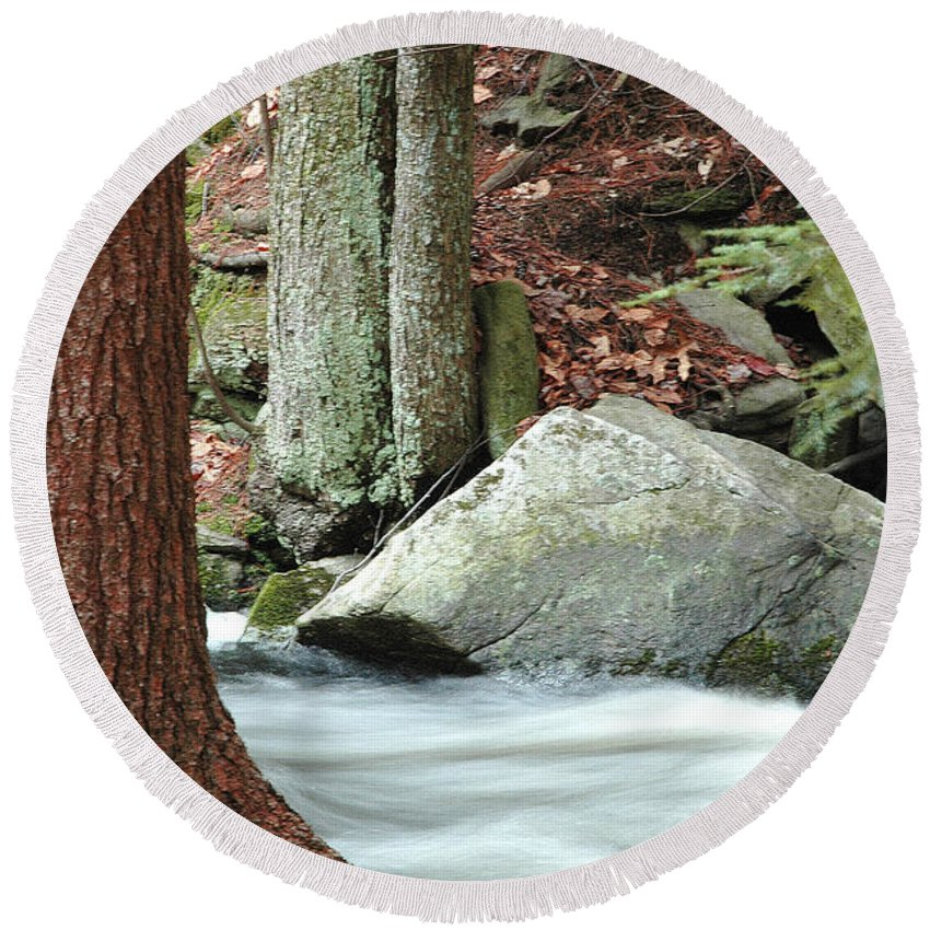 Boulder Round Beach Towel featuring the photograph Boulder And Stream by Mike Nellums