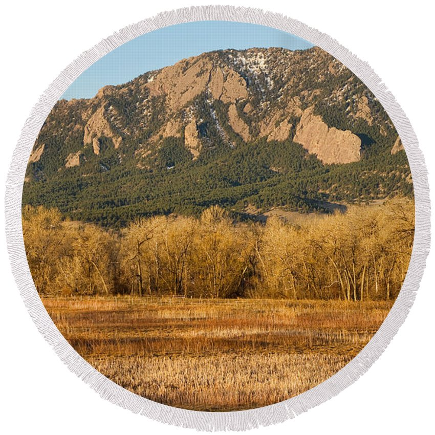 'flatiron' Round Beach Towel featuring the photograph Boulder Colorado Flatiron View From Jay Rd by James BO Insogna