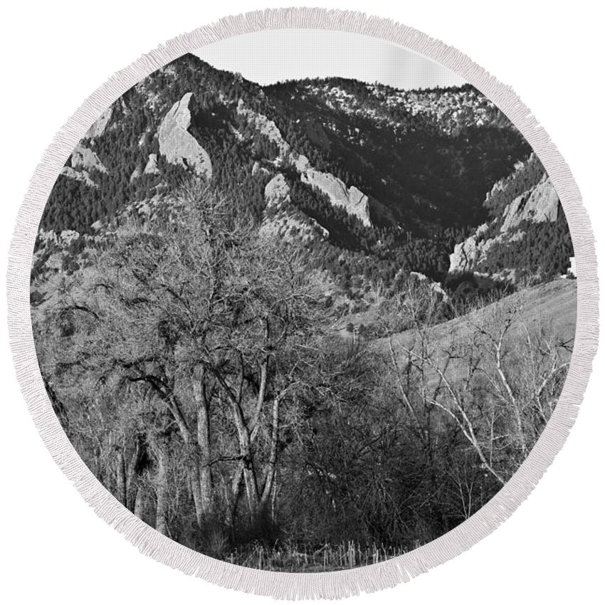 Flairons Round Beach Towel featuring the photograph Boulder Colorado Front Range Ncar View by James BO Insogna