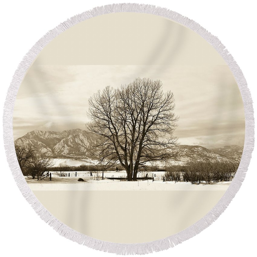 Boulder Round Beach Towel featuring the photograph Boulder County by Marilyn Hunt