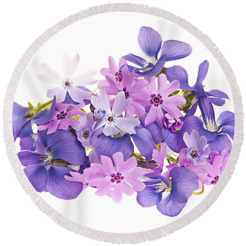 Bouquet Of Spring Flowers Round Beach Towel for Sale by Elena Elisseeva