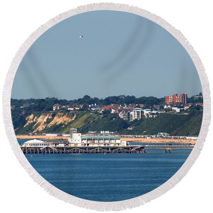 Bournemouth Pier Round Beach Towel featuring the photograph Bournemouth Pier In Dorset by Chris Day
