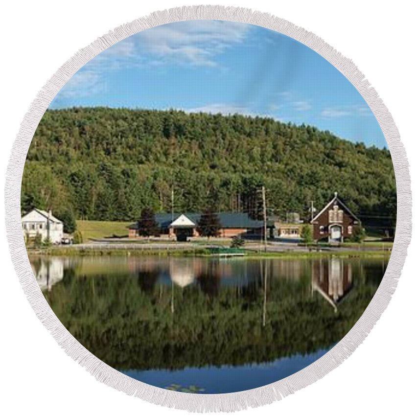 Adirondacks Round Beach Towel featuring the photograph Brant Lake Reflections by Joshua House