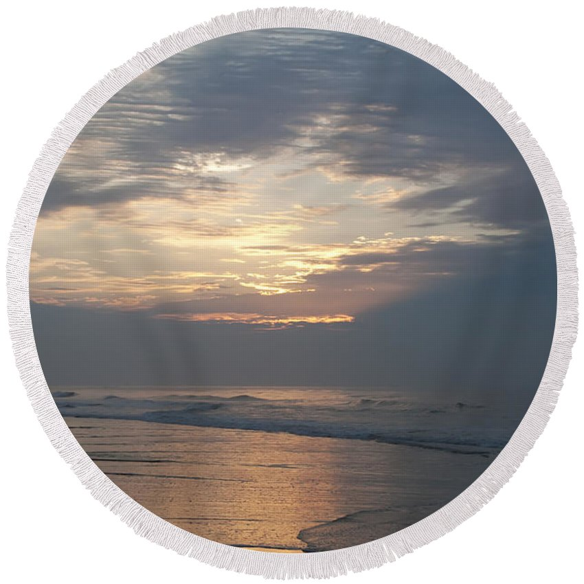 Breaking Through Round Beach Towel featuring the photograph Breaking Through by Bill Cannon