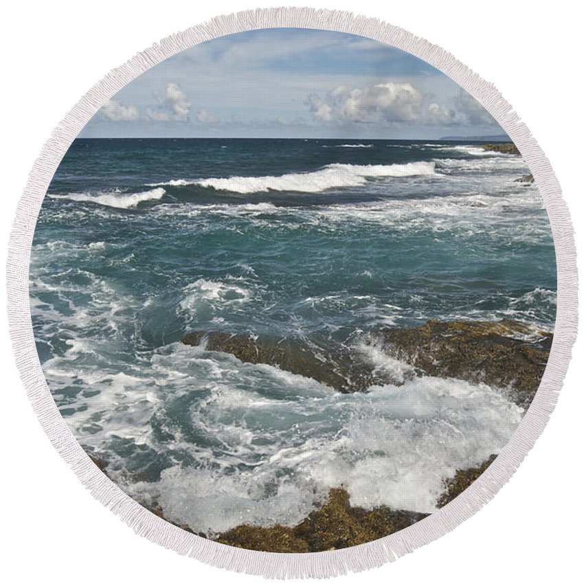 Abstract Round Beach Towel featuring the photograph Breaking Waves 7919 by Michael Peychich