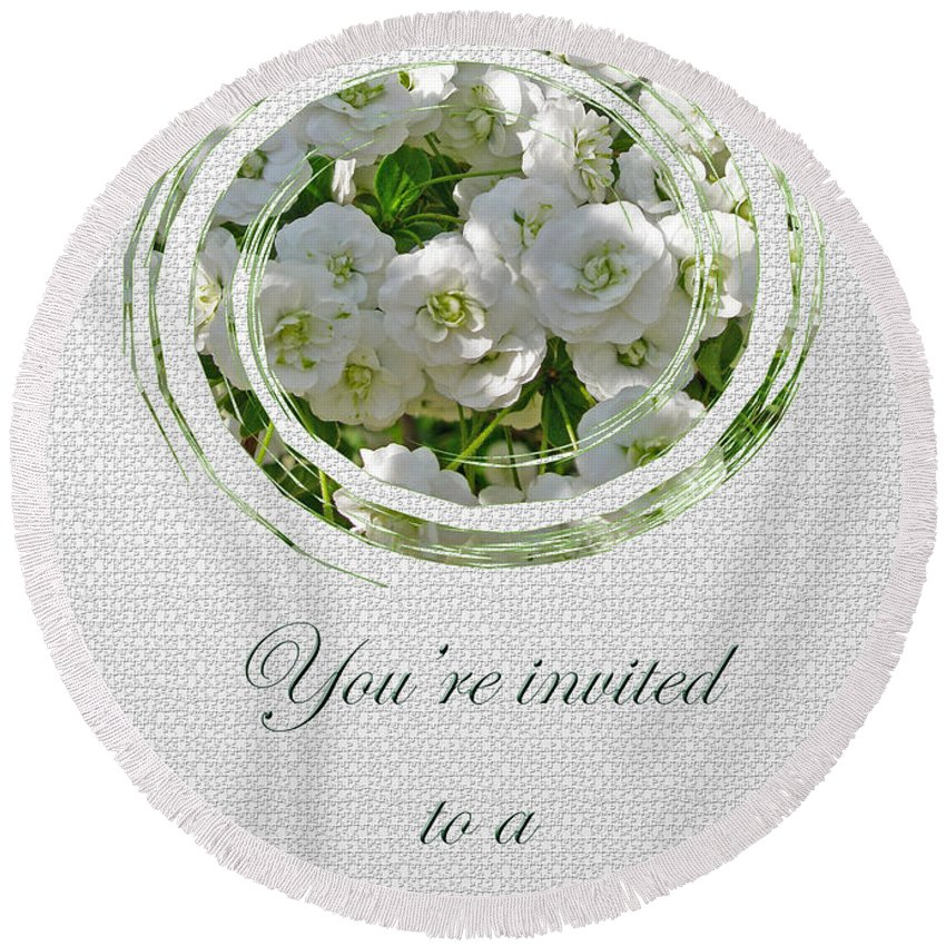 Bridal Round Beach Towel featuring the photograph Bridal Shower Invitation - White Spirea by Mother Nature