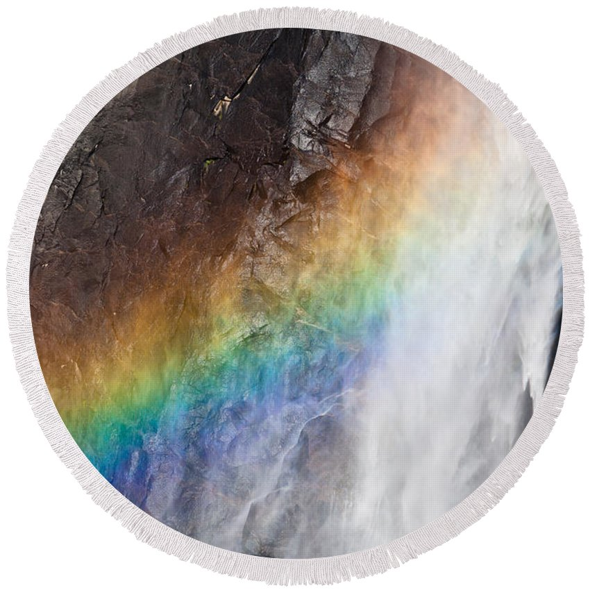 Granite Round Beach Towel featuring the photograph Bridalveil Fall Rainbow by Olivier Steiner