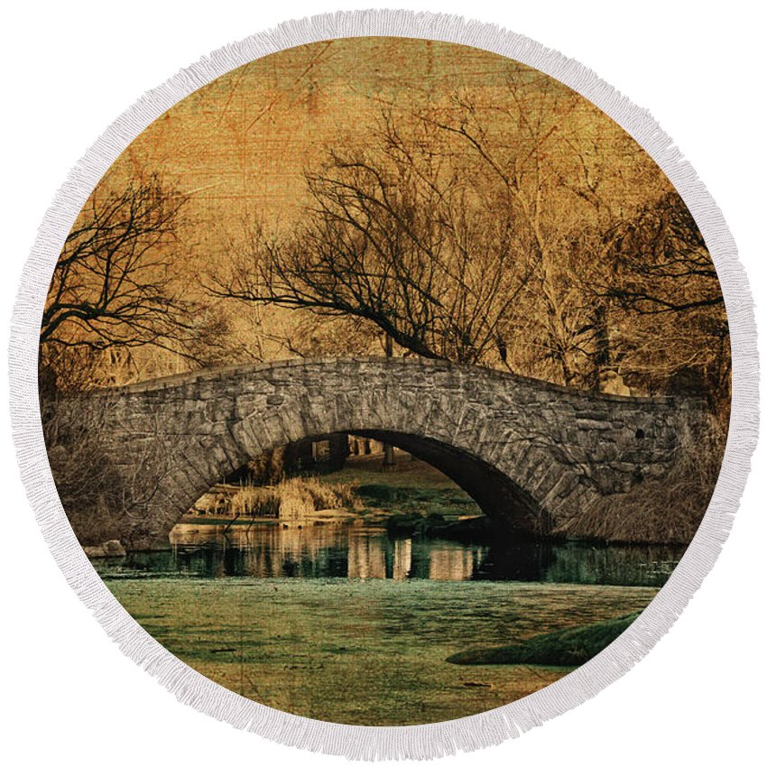 Central Park Round Beach Towel featuring the photograph Bridge From The Past by Nishanth Gopinathan