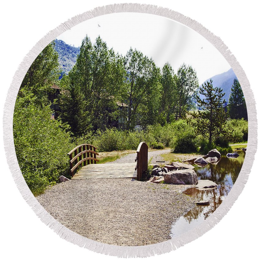 Vail Round Beach Towel featuring the photograph Bridge In Vail - Colorado by Madeline Ellis