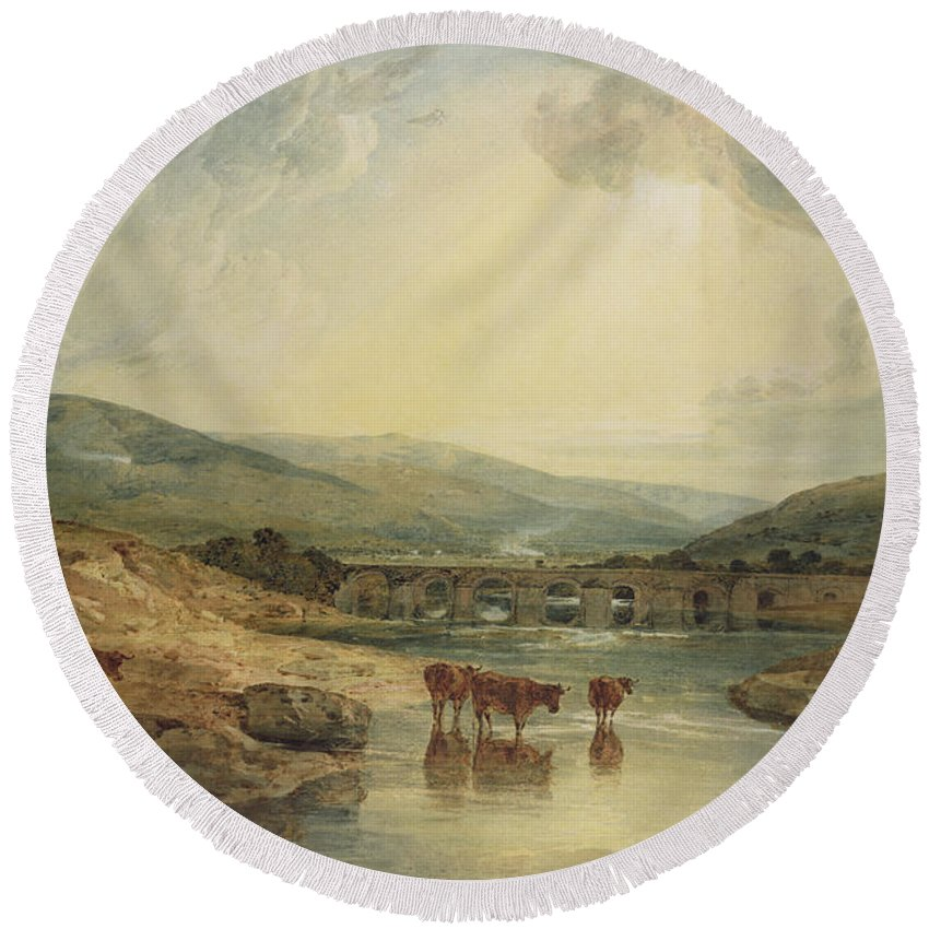 Aqueduct; Haystack; River Scene; Cattle; Landscape; Britain; Powys; Dyfed; Britain; Wales Round Beach Towel featuring the painting Bridge Over The Usk by Joseph Mallord William Turner