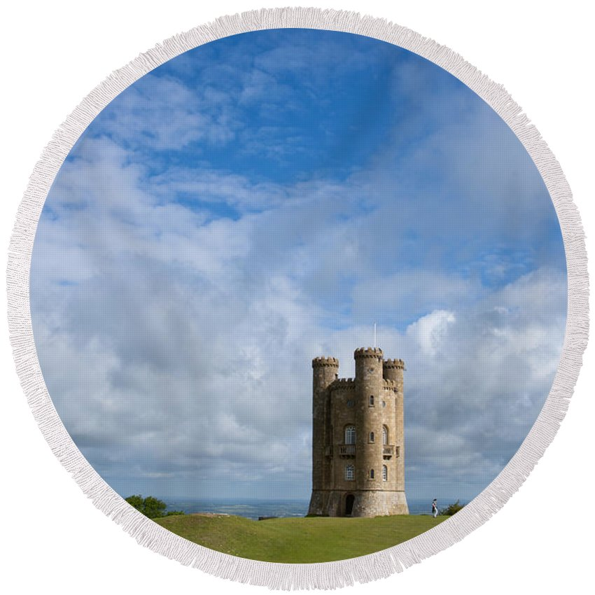 British Round Beach Towel featuring the photograph Broadway Tower by Andrew Michael