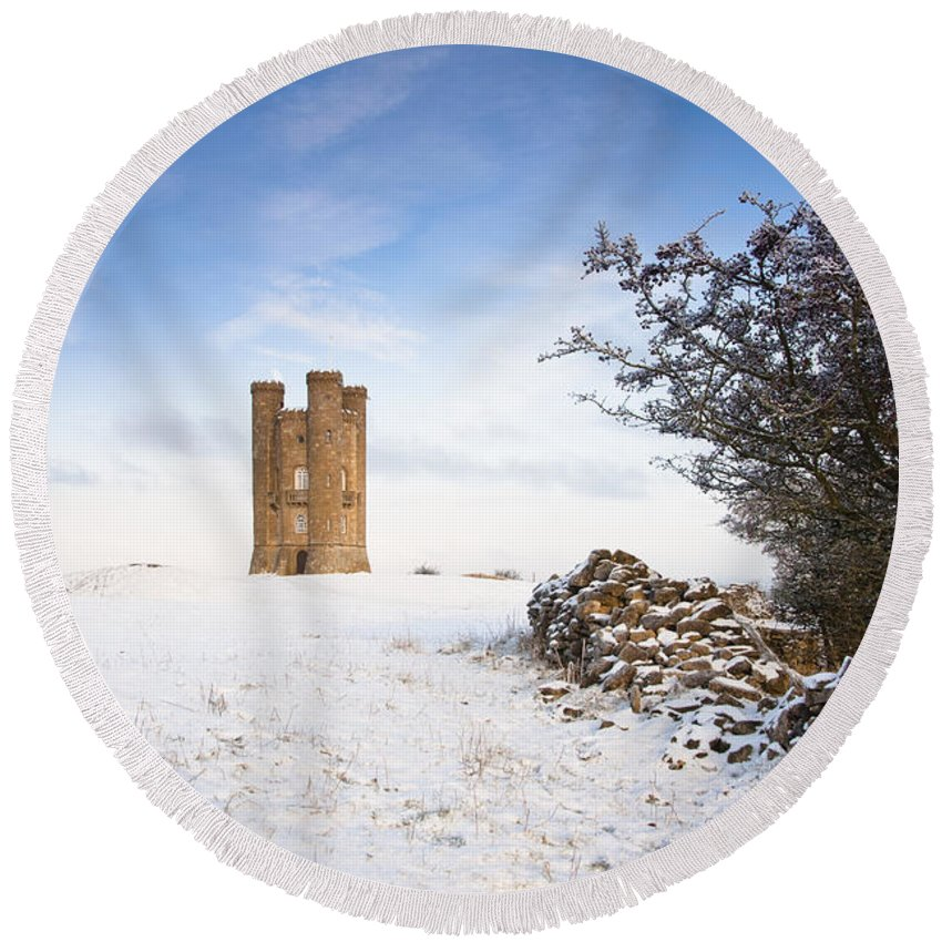 Britain Round Beach Towel featuring the photograph Broadway Tower In Winter Snow by Andrew Michael