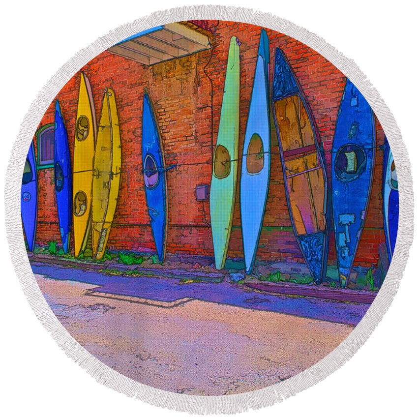 Kayak Round Beach Towel featuring the digital art Broken Kayaks by Charles Muhle