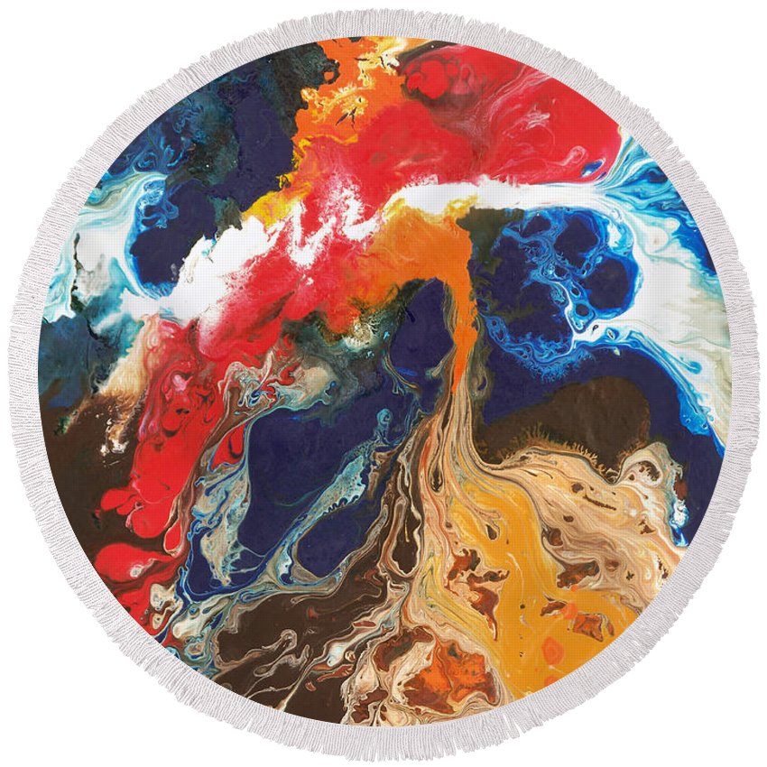 Abstract Round Beach Towel featuring the painting Broken Wing by Sally Trace