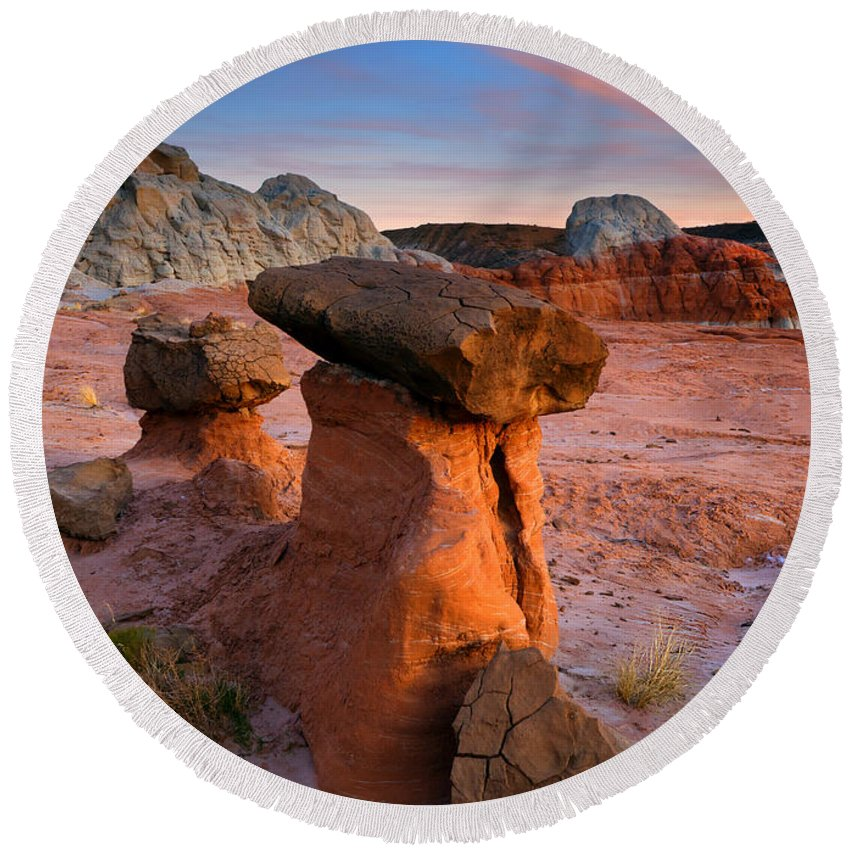Hoodoo Round Beach Towel featuring the photograph Brokentop Hoodoo Sunset by Mike Dawson
