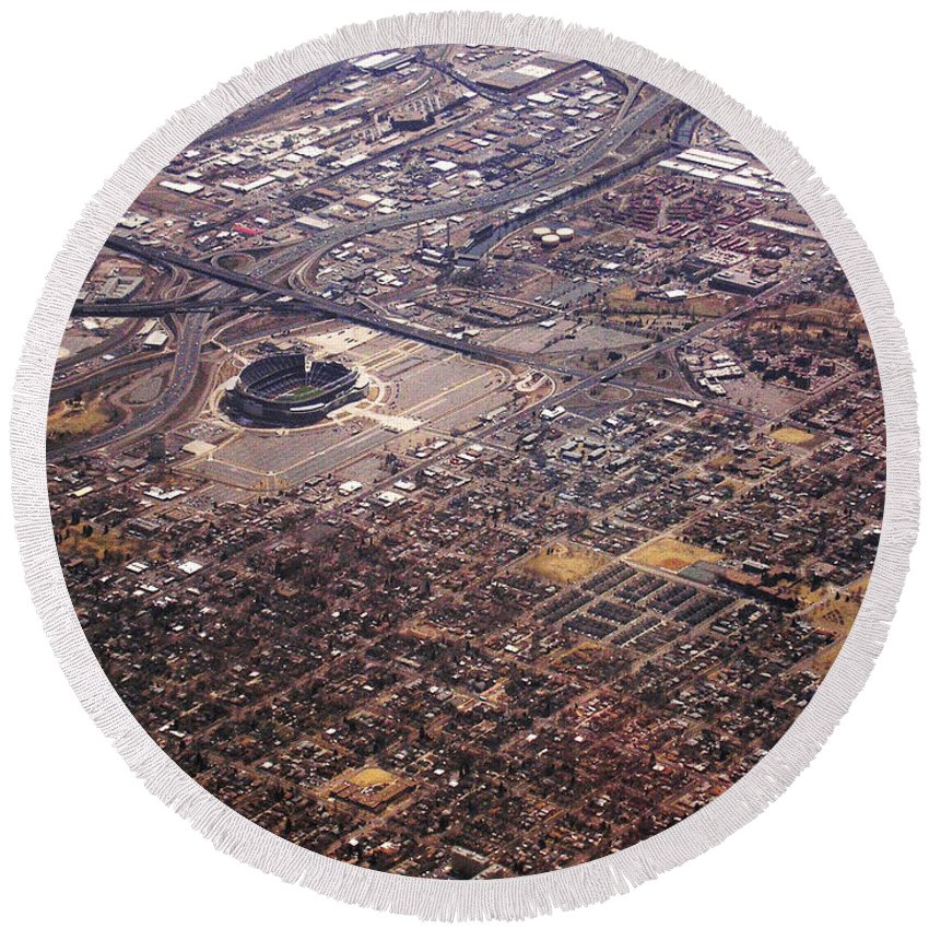 Aerial Round Beach Towel featuring the photograph Broncos Stadium Aerial by Anthony Wilkening