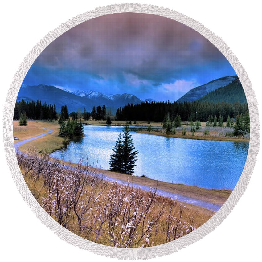 Banff Round Beach Towel featuring the photograph Brooding Skies by Tara Turner