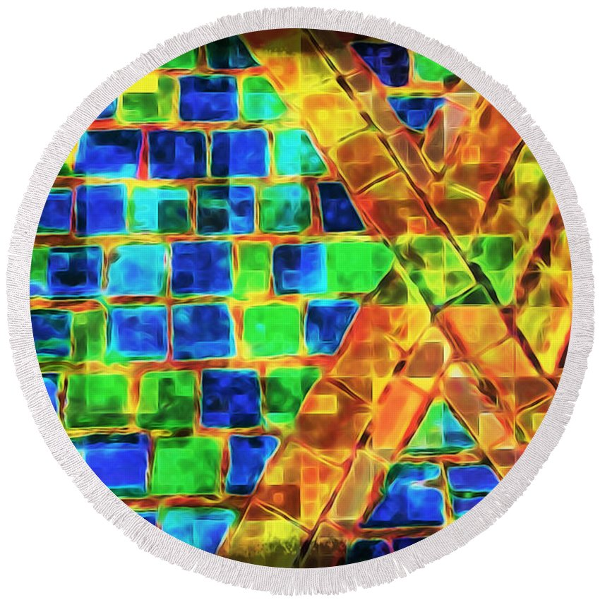 Brooklyn Round Beach Towel featuring the photograph Brooklyn Tile Abstract by Joan Minchak