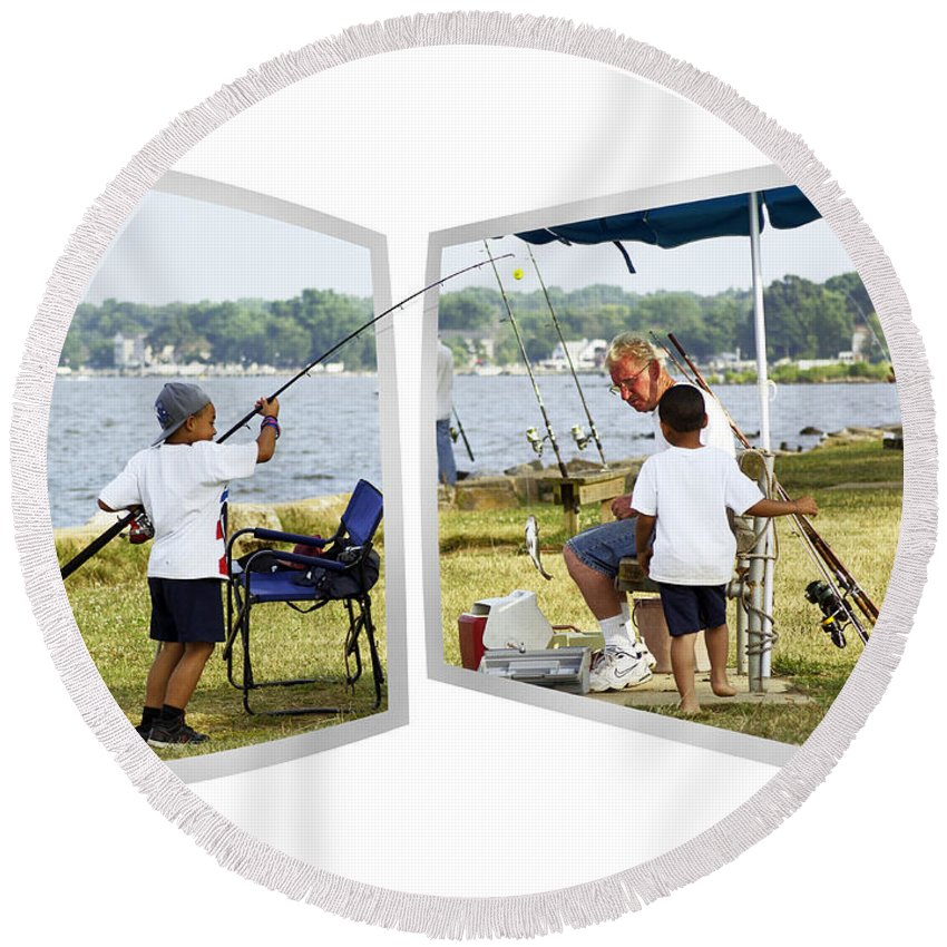 2d Round Beach Towel featuring the photograph Brothers Fishing - Oof by Brian Wallace