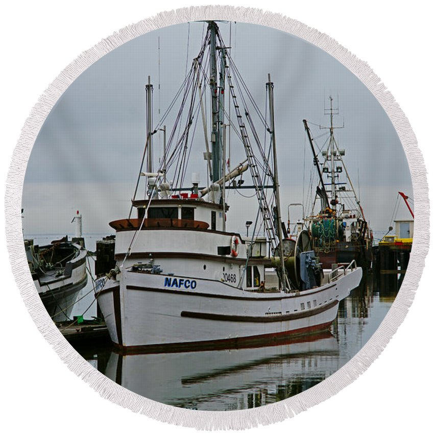 Fishing Boats Round Beach Towel featuring the photograph Brown And White Fish Boat by Randy Harris
