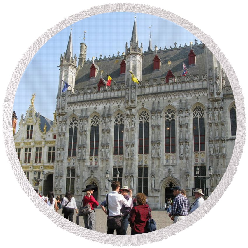 Brugge Round Beach Towel featuring the photograph Brugge 2011 by Ausra Huntington nee Paulauskaite